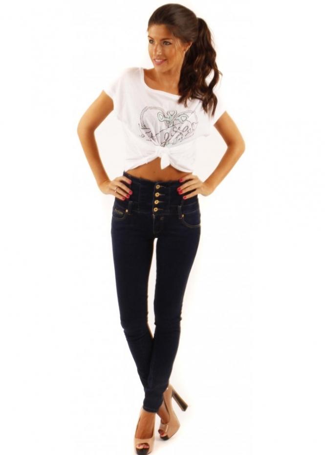 Designer Desirables High Waisted Skinny Stretch Fit Denim Jeans
