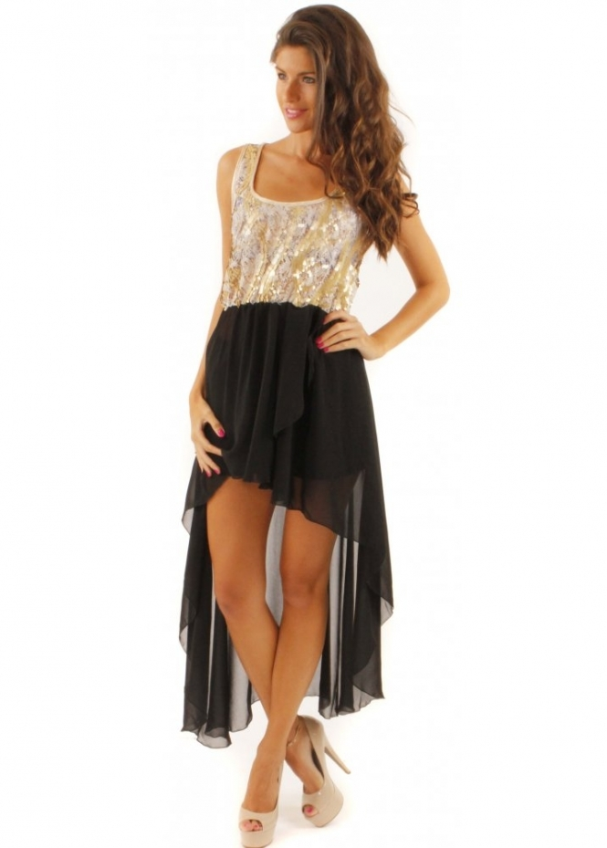 Dipped Hem Dress As Seen On Big Brother Sequin Amp Lace