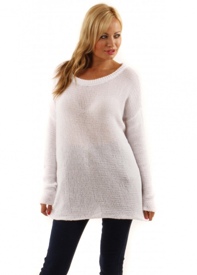 twisted muse white sammy jumper loose knit white slouch