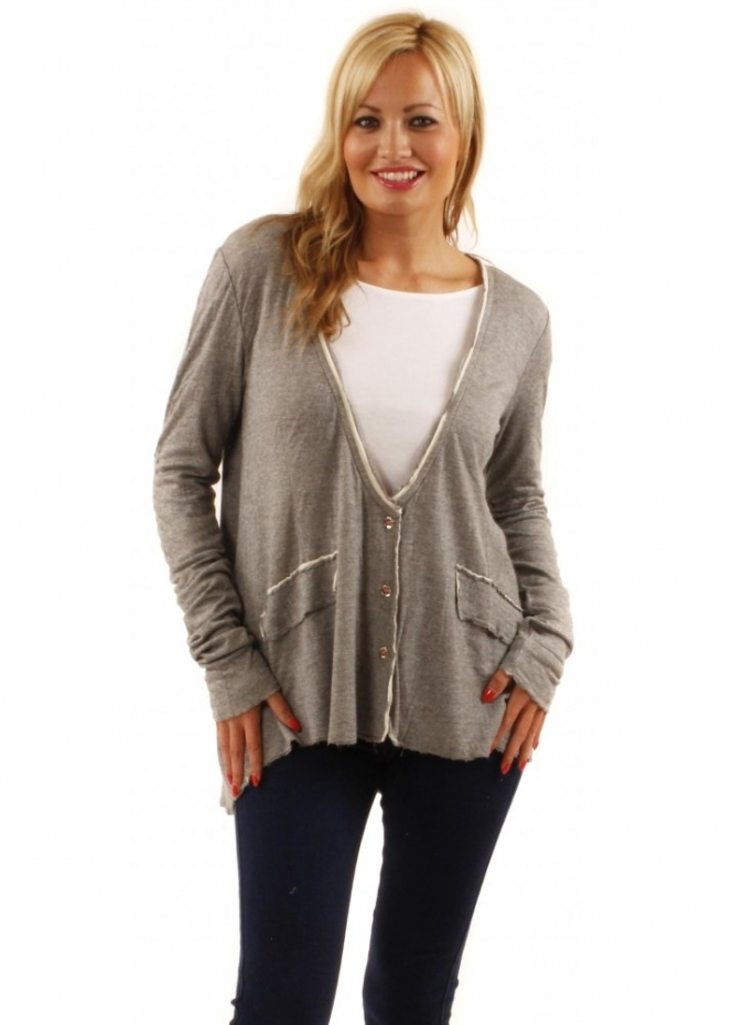 Twisted Muse Harley Grey Marl College Sweat Jacket
