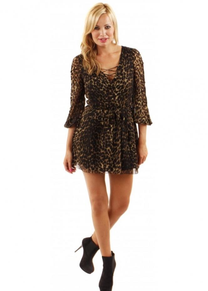 House Of Dereon Leopard Print V-Neck Chiffon Dress
