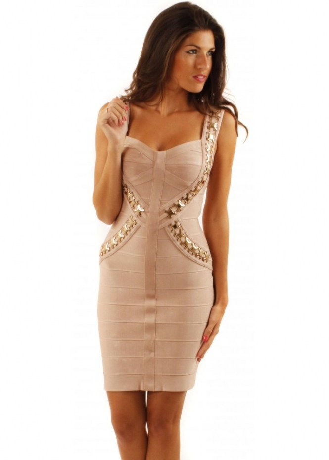 Forever Unique Morgan Dress | Nude Bandage Dress | Bandage ...