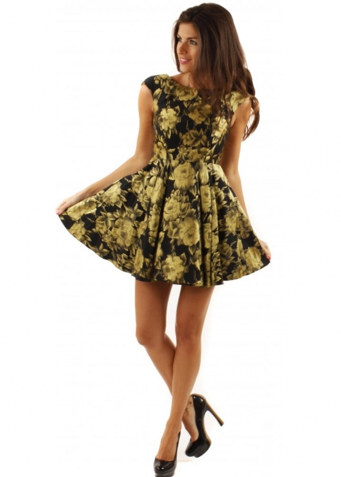 Forever Unique Doris Dress Black Amp Gold Skater Dress