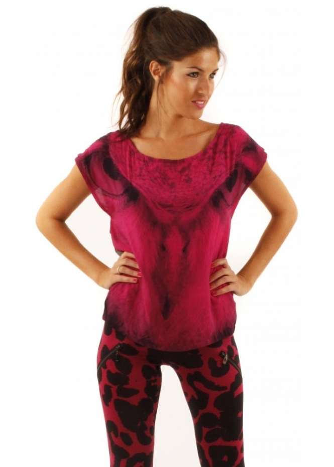 Prey Of London Owl Print Pink T-Shirt With Mesh Back