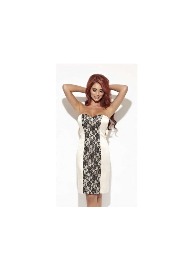 Amy Childs Jeanette Dress Champagne Satin Lace Panel