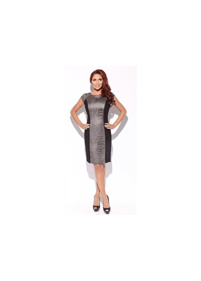 Amy Childs Lottie Dress With Grey Moc Croc Panel