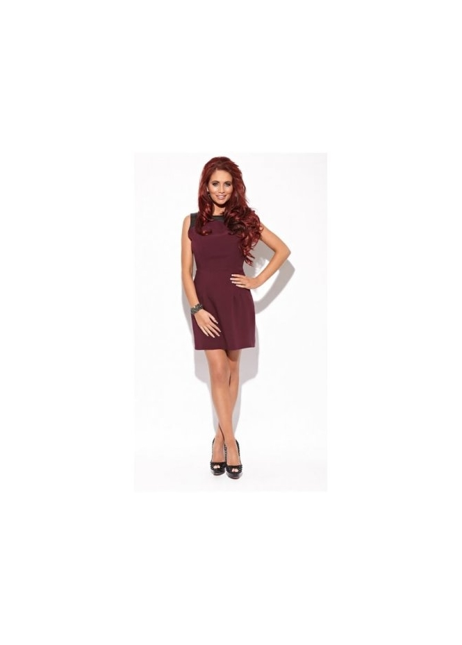 Amy Childs Kay Aubergine Shift PVC Detail Dress