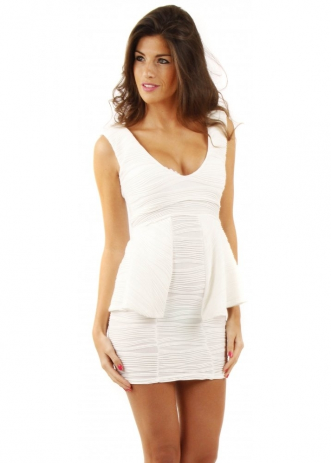Designer Desirables Winter White Ribbed Peplum Dress