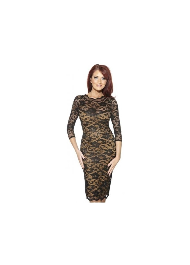 Amy Childs Georgia Black & Gold Lace Pencil Dress