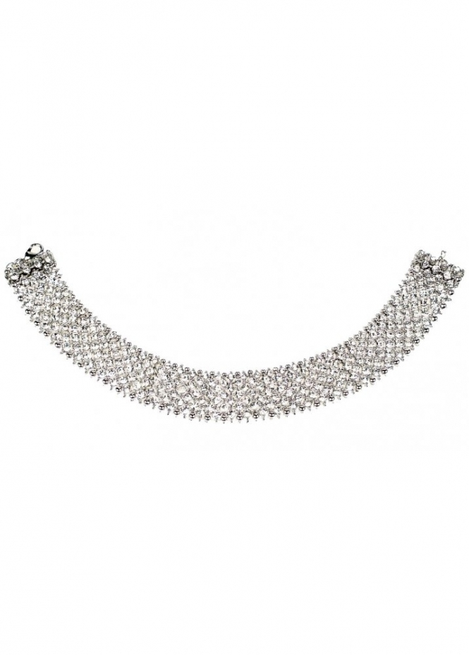 Amy Childs Champagne Bella Crystal Band Silver Choker Necklace