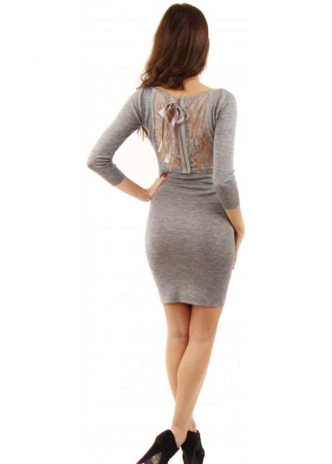 Sweewe Grey Fine Ribbed Lace Back Mini Dress