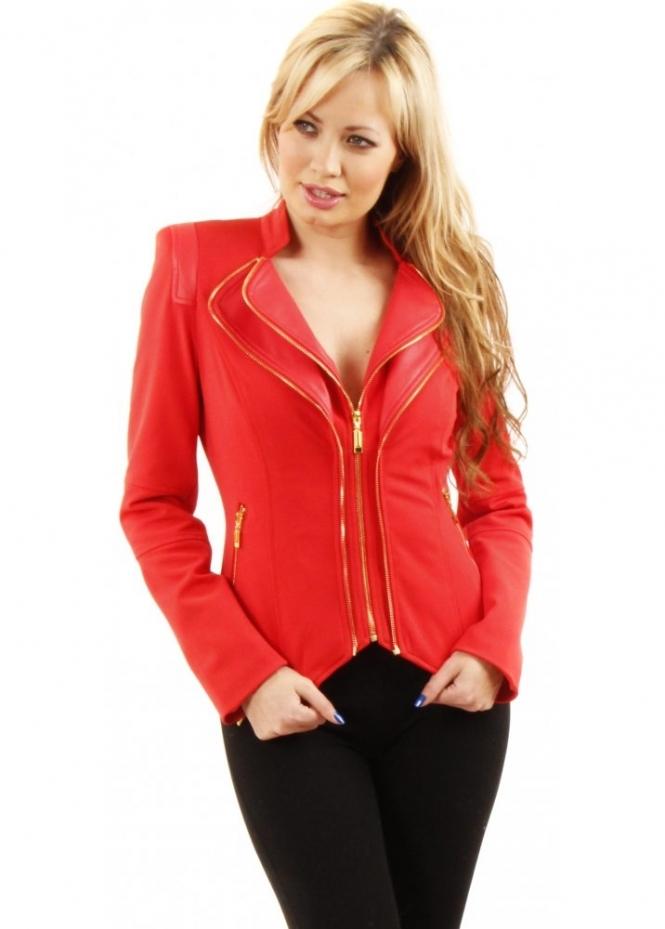 red cropped jacket gold zip amp leather jacket designer