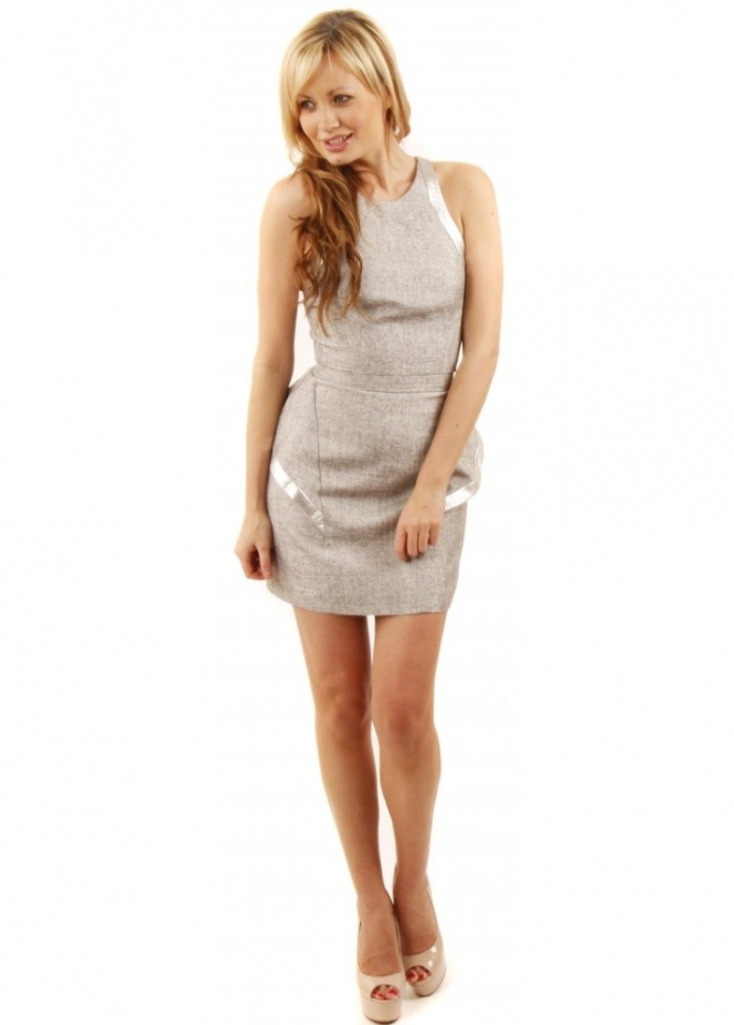 Keepsake We Found Love Silver Grey Peplum Dress