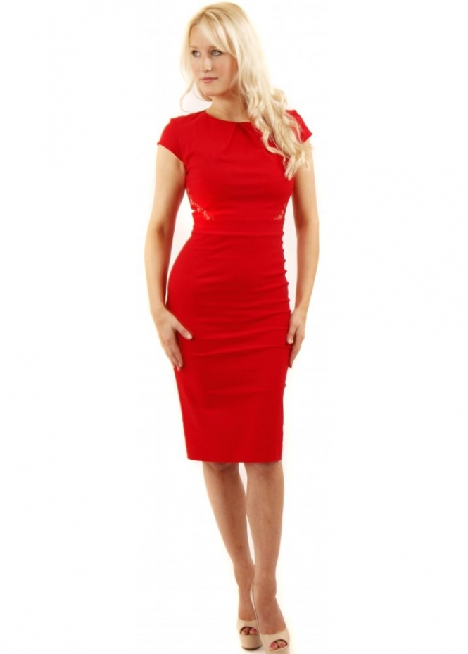 The Pretty Dress Company Modena Dress Red Pencil Dress