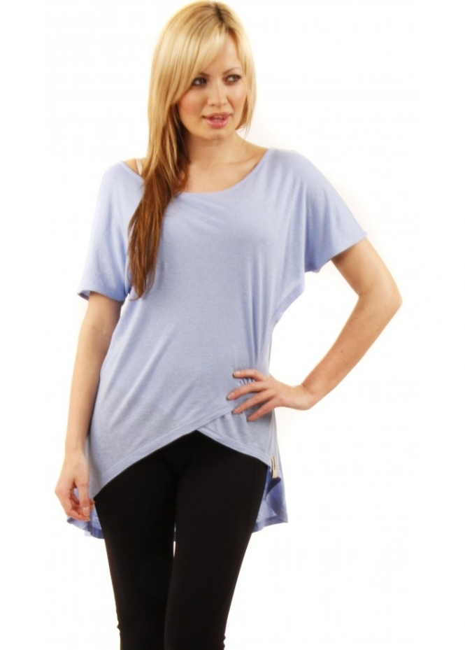 Twisted Muse Bailey Fold Detail Blue Jersey Top