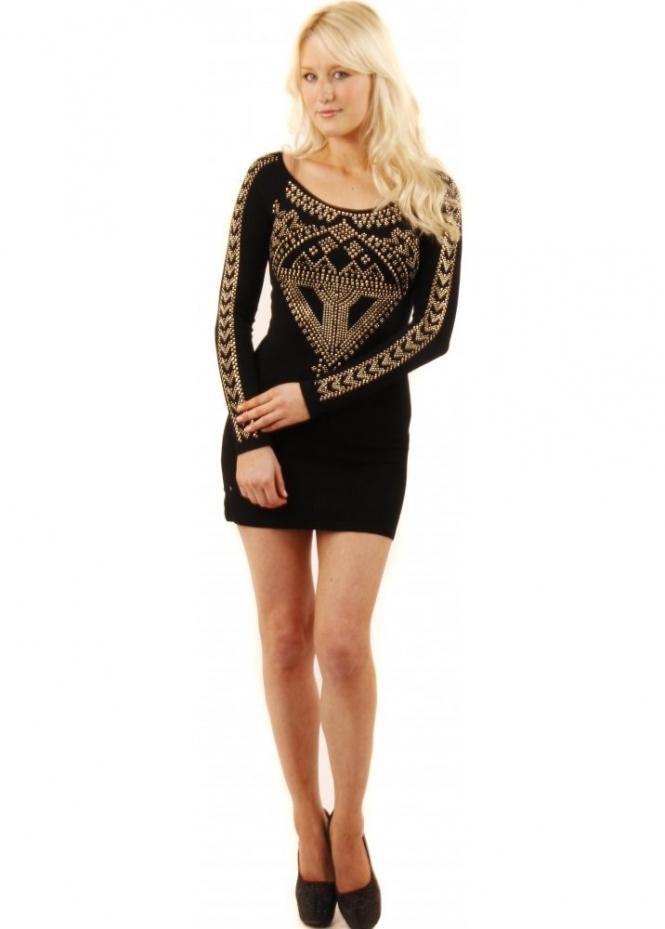 Gold Studded Jumper Black Jumper Dress Shop Knitwear