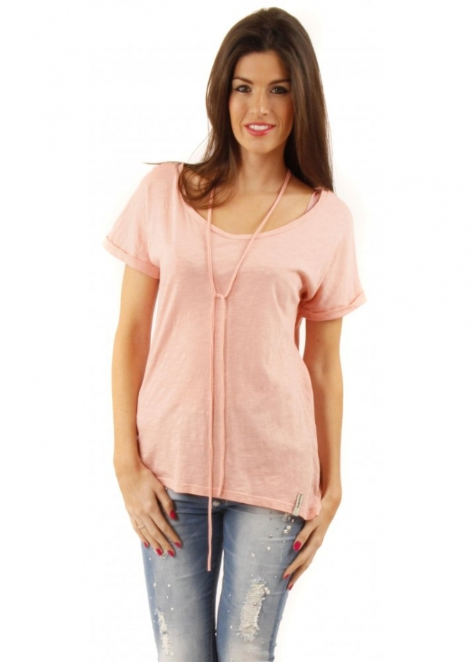Twisted Muse Chloe Basic Blush Pink Cotton Jersey Top
