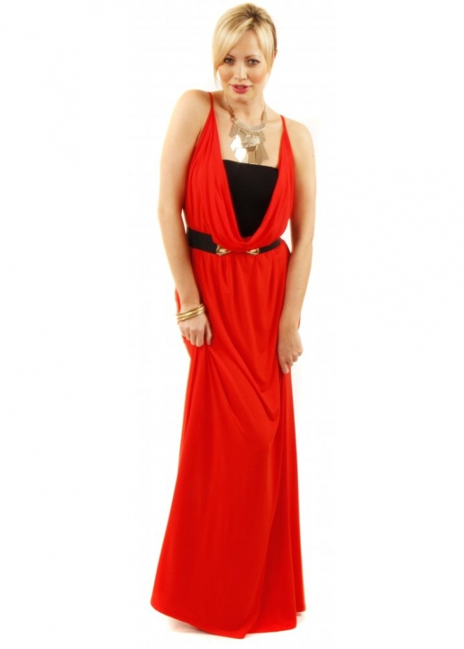 Join Reversible Red Scoop Neck Maxi Dress