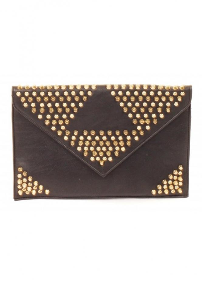 Forever Unique Black Gold Studded Envelope Clutch Bag
