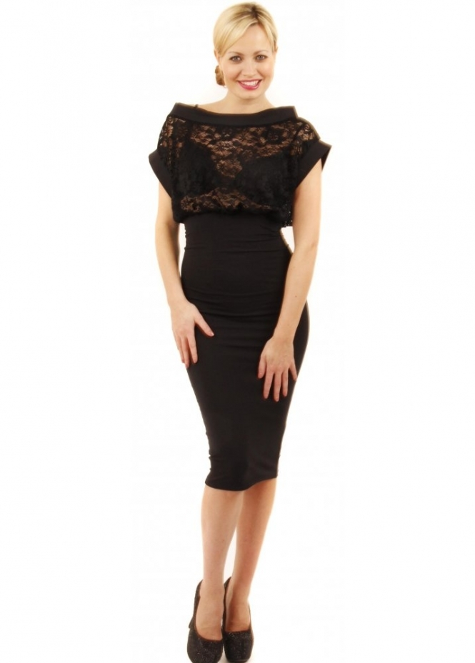 Quontum Black Lace Top Midi Dress Quontum Dresses
