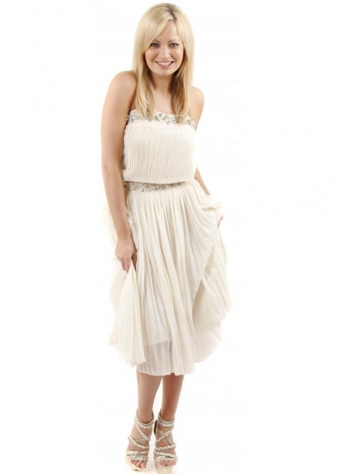 Tempest Amber Midi Dress with Gathered Waist & Embellishment