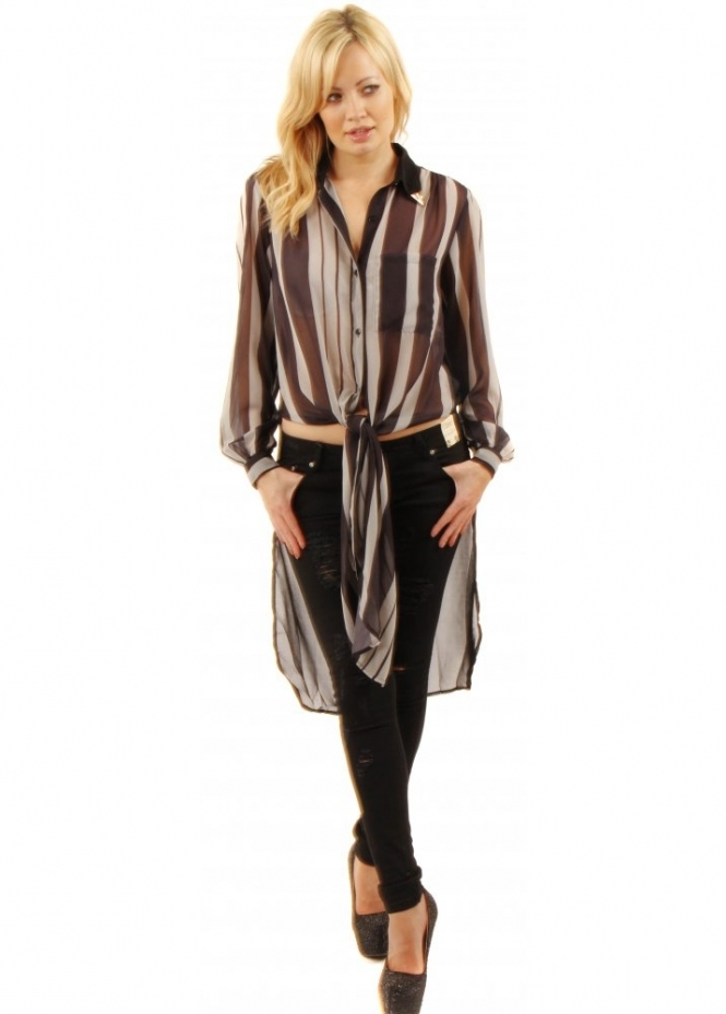 Prey Of London Black & Grey Semi Sheer Striped Shirt