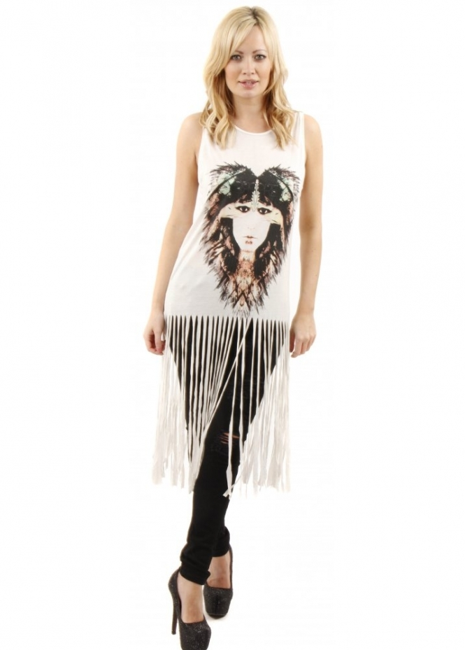 Prey Of London Eagle Woman White Fringe Jersey Vest Top