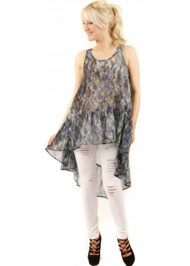 Prey Of London Feather Print Semi Sheer Frill Top