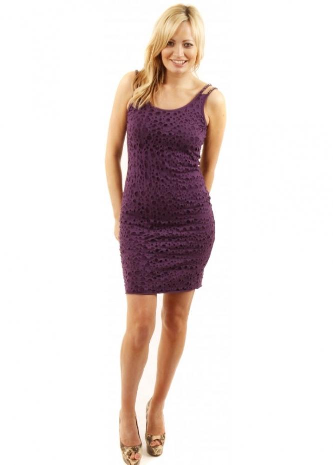 Prey Of London Distressed Purple Cotton Jersey Mini Dress