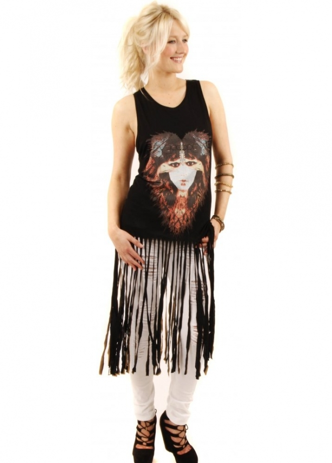 Prey Of London Eagle Woman Black Fringe Jersey Vest Top