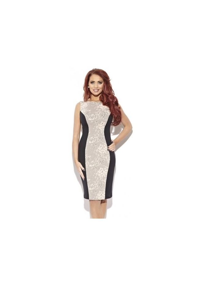 Amy Childs Poppy Floral Jacquard Panel Shift Dress