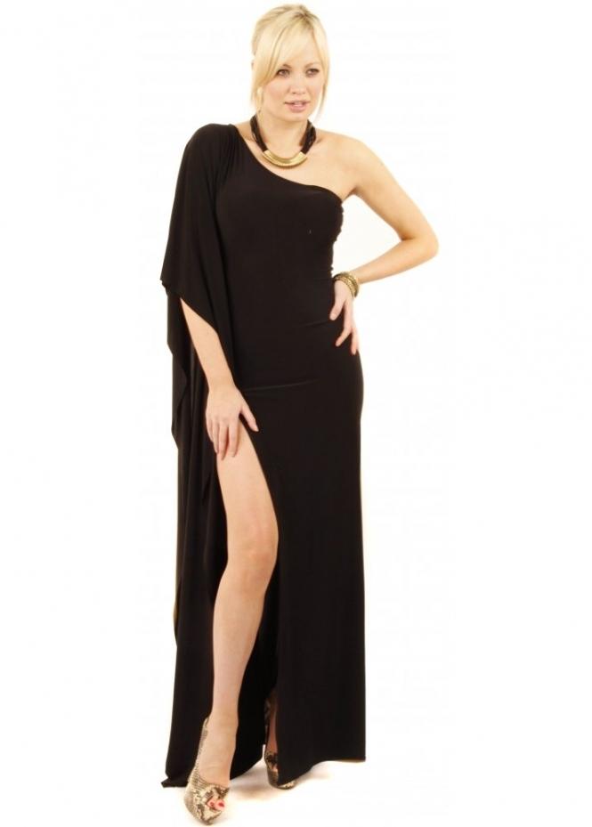 Goddess London Black Maxi Dress High Split Maxi Dress