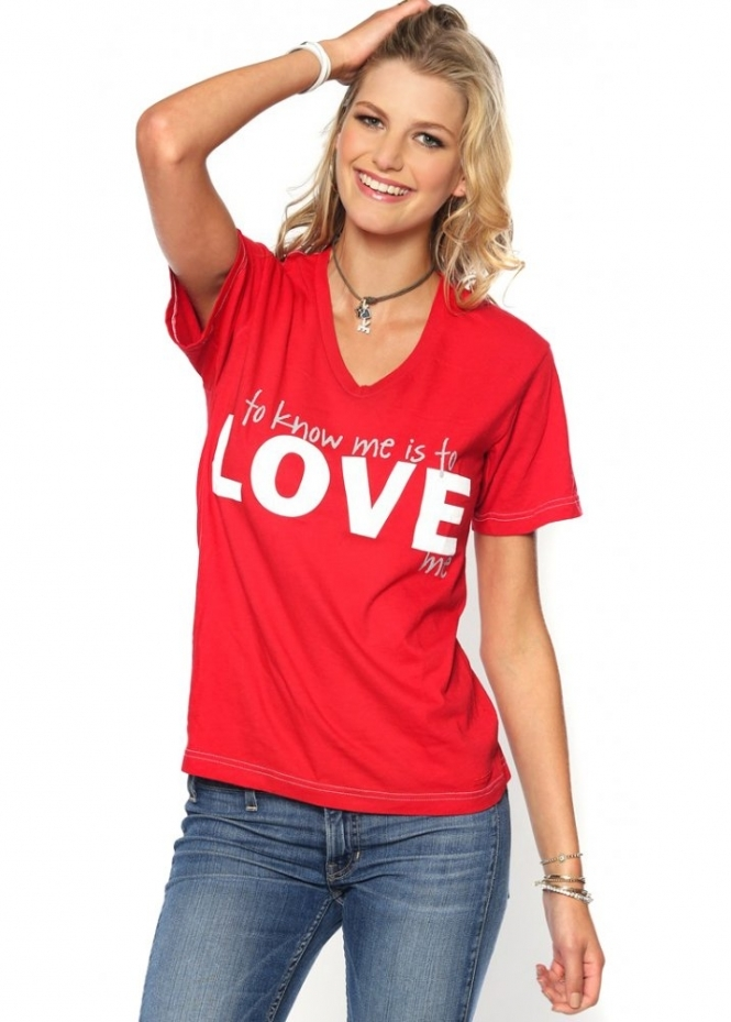 Peace Love World Anna Maria Red V Neck LOVE Tee