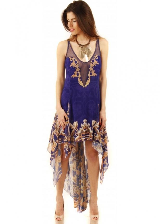 Party 21 mesh front dress blue silk dress chain print for Waterfall design dress