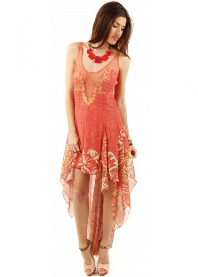 Party 21 dress coral silk dress kaftan dress for Waterfall design dress