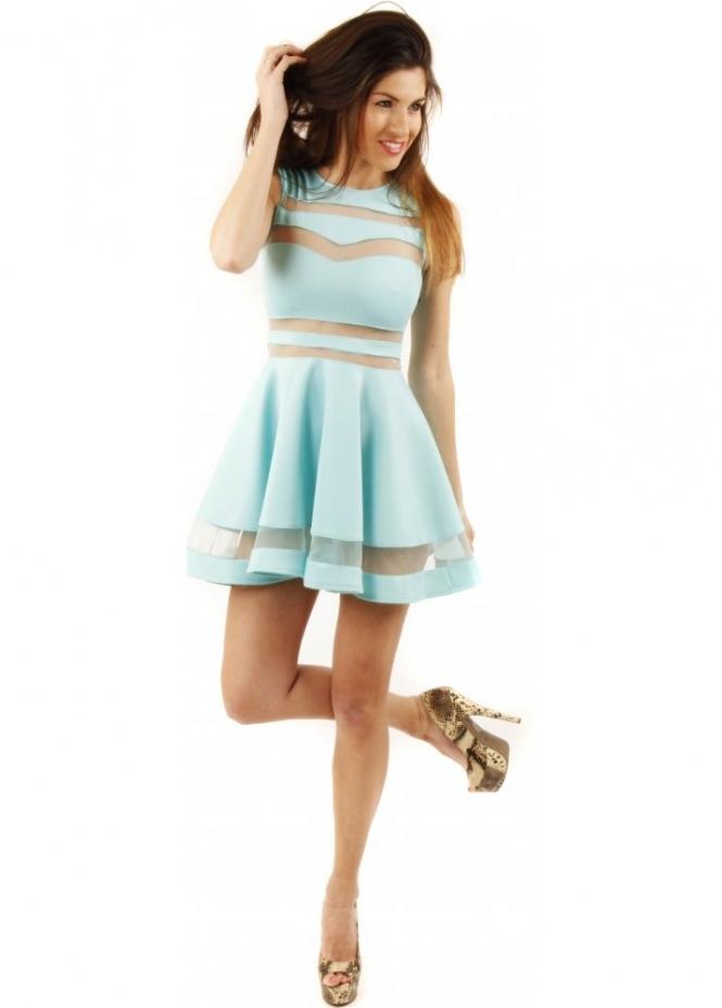 Designer Fit Amp Flare Dress Mini Skater Dress Mint