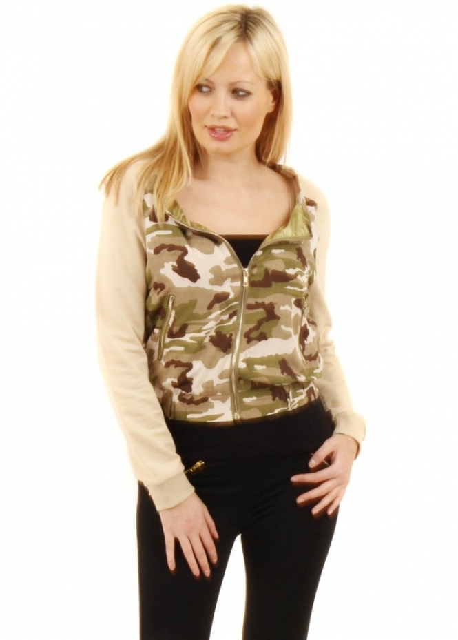 Vera & Lucy Camouflage Print Cotton Bomber Jacket