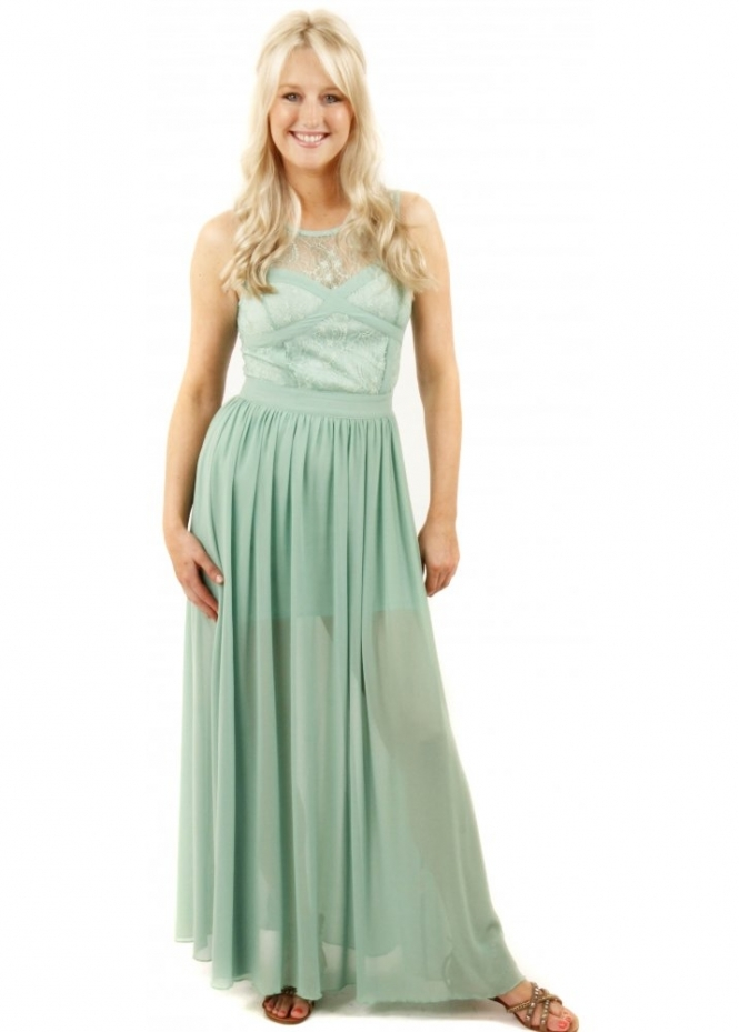 French Boutique Cross Your Heart Lace Detail Sage Green Maxi Dress
