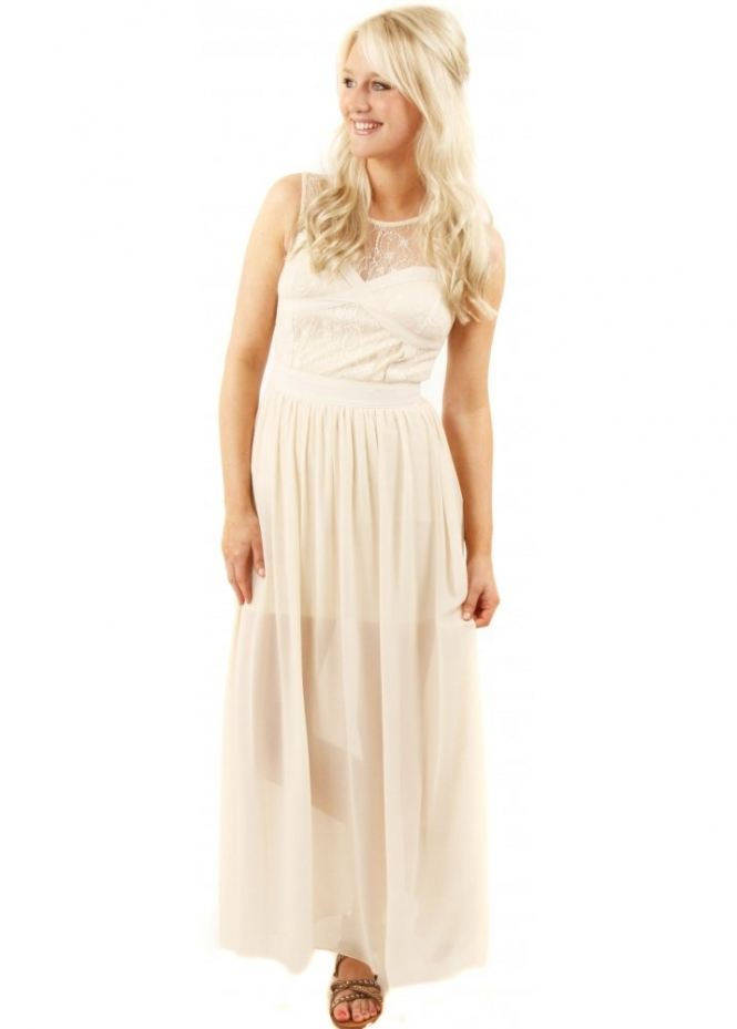 French Boutique Cross Your Heart Lace Detail Cream Maxi Dress
