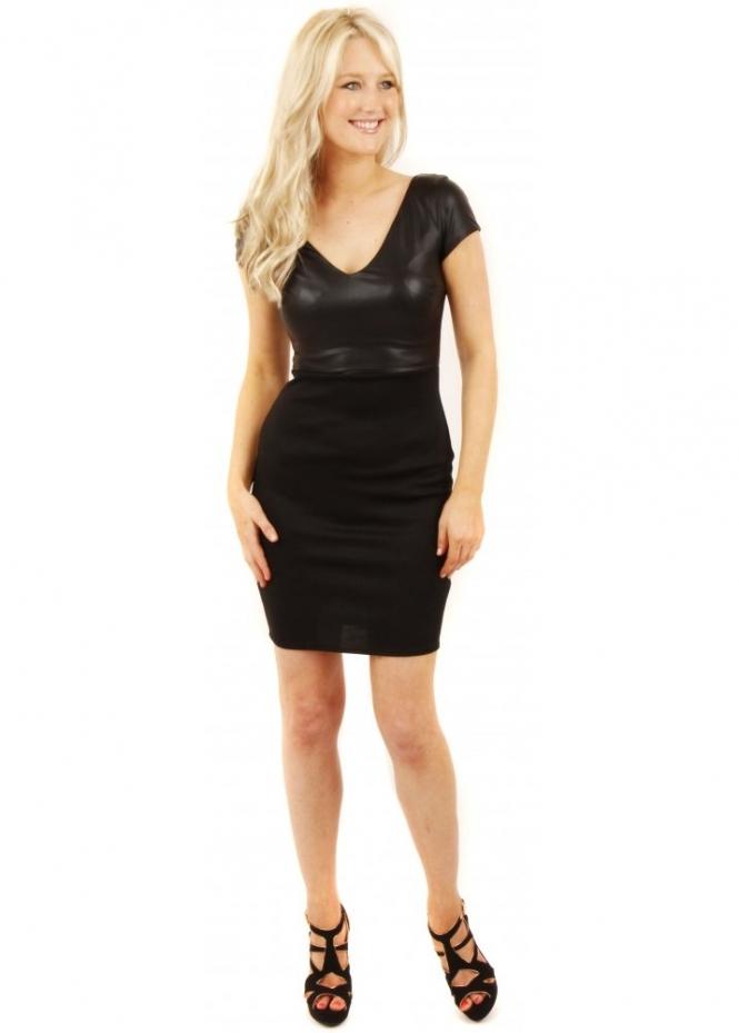 Goddiva Black PU & Ponte Bodycon Dress