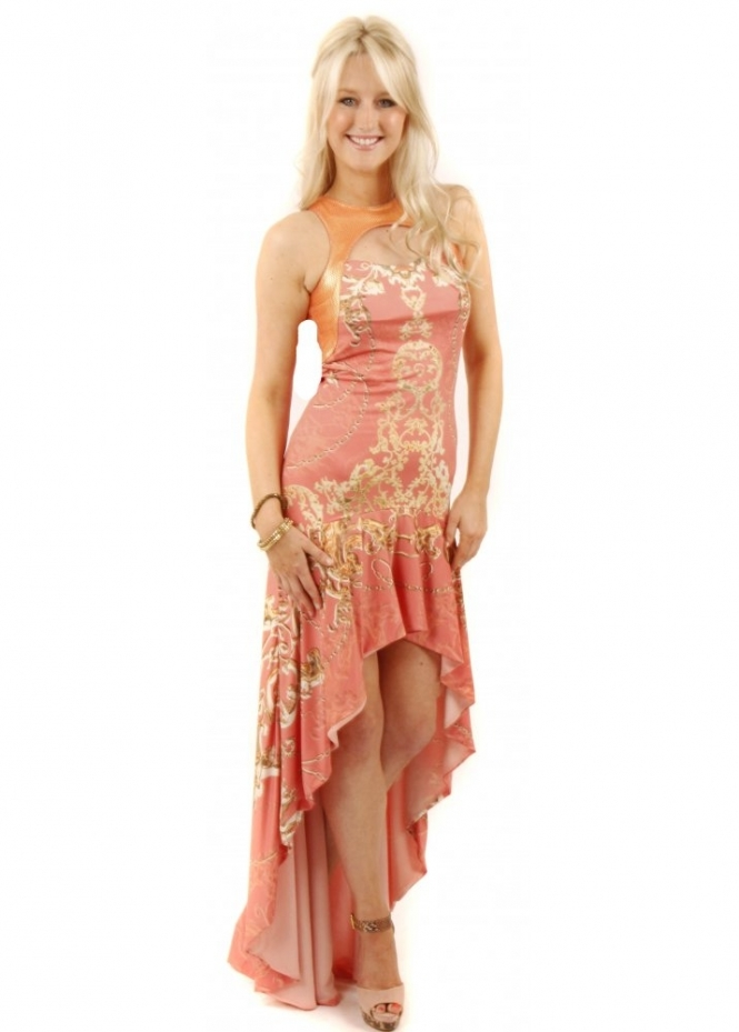 Party 21 dress coral printed maxi party 21 maxi dress for Waterfall design dress