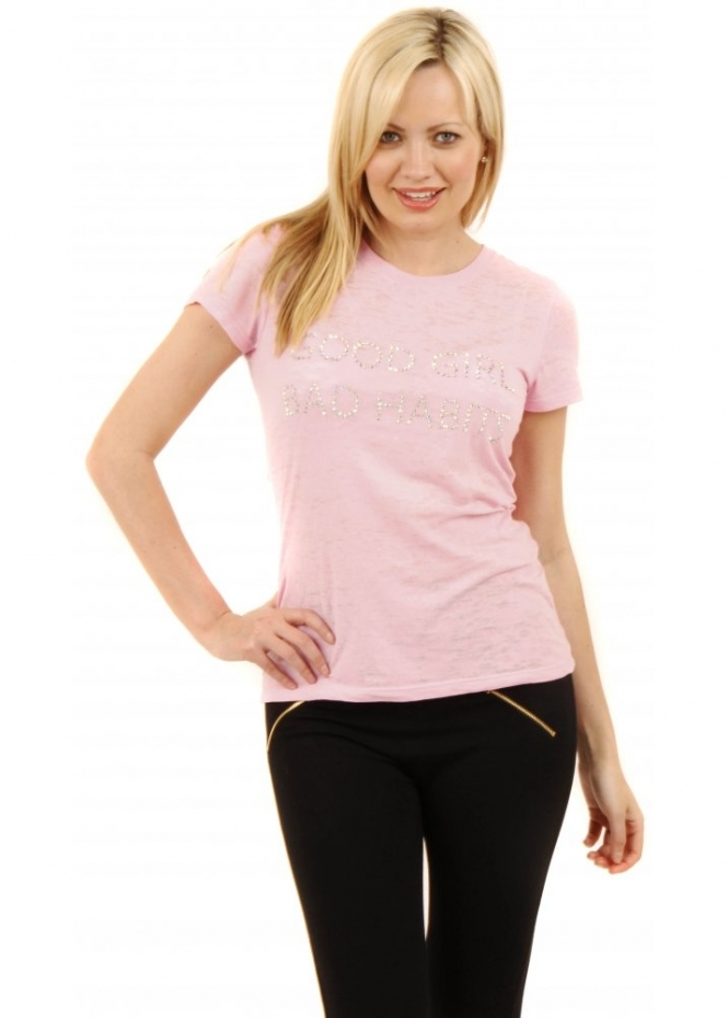 Fallen Angel Good Girl Bad Habits Pink Tee