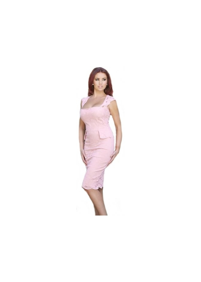 Amy Childs Bethany Pink Tailored Lace Dress