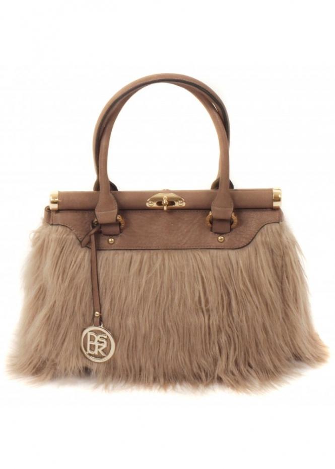 Dsuk Bowler Bag Taupe Faux Fur Bag Fur Tote Bag