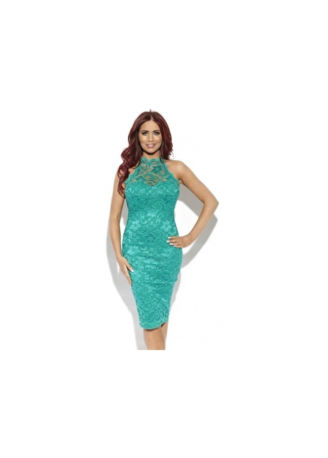 Amy Childs Lola Green Lace Halter Neck Midi Dress
