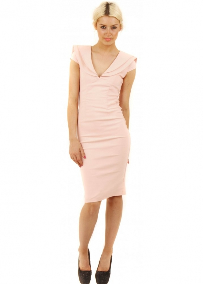 Tempest Nude Pink Shawl Collar Rose Pencil Dress