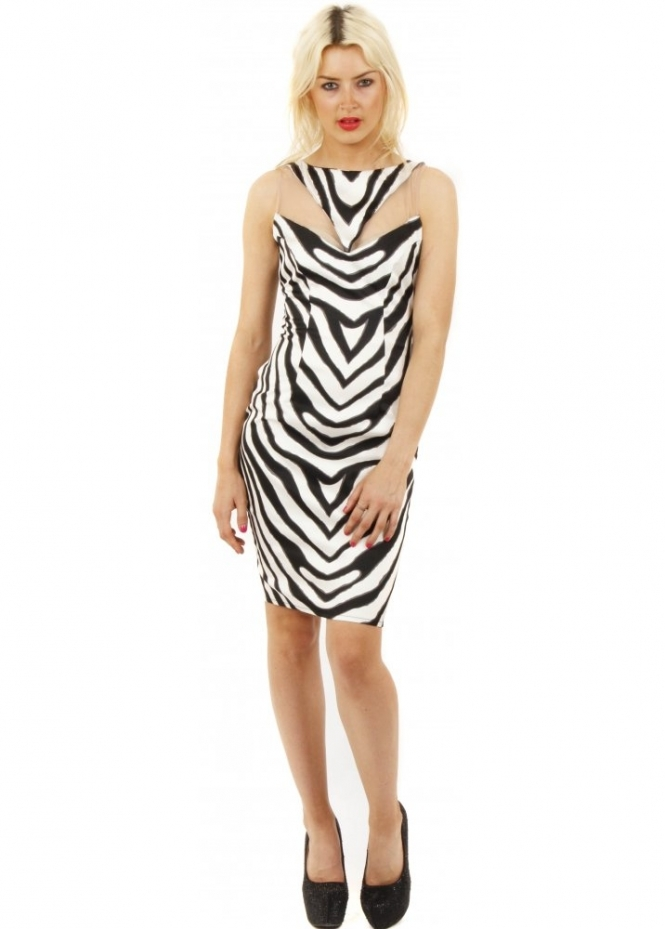 Goddess London Zebra Print Mesh Insert Bodycon Dress