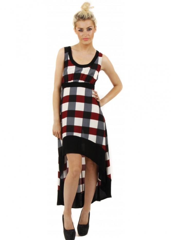 Stella Morgan Red Check Lattice Back Dip Hem Dress