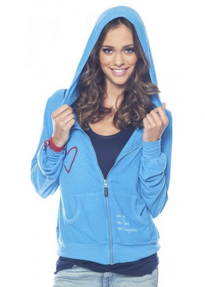 Peace Love World I Am Hooked On Love Sea Blue Hoodie