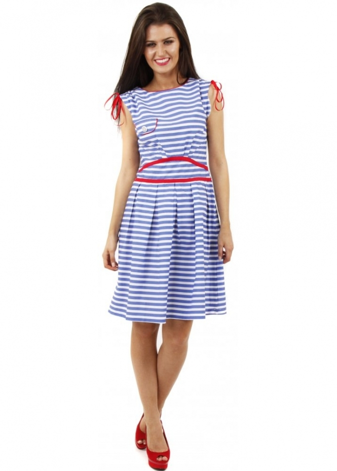 Stella Morgan Blue Nautical Striped Contrast Trim Cotton Dress